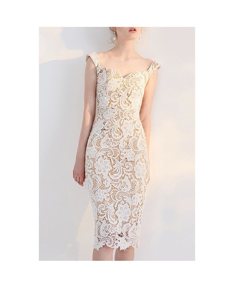 Tight Short Lace Wedding Dresses Reception Ivory Lace Sheath Knee ...