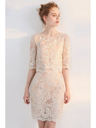 Elegant Lace Half Sleeve Sheath Round Neck Short Formal Dress