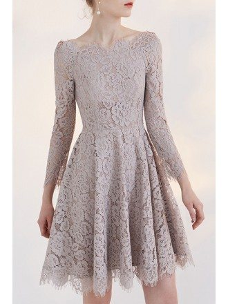 Charming Full Lace A-line Off the Shoulder Party Dress with 3/4 Sleeve