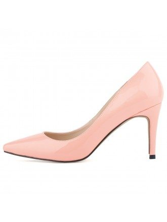 Pink Patent-Leather Closed Toe Pumps