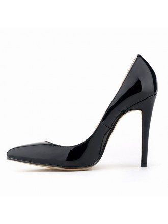 Black Patent-Leather Stiletto Closed Toe Pumps