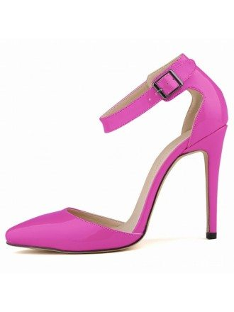 Purple Patent-Leather Stiletto Closed Toe Pumps With Buckle Style