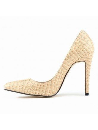 Crocodile Patent-Leather Stiletto Closed Toe Pumps