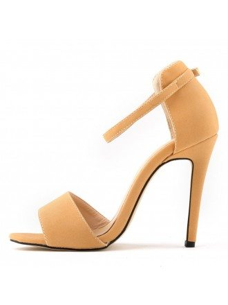 Apricot Suede Stiletto Peep Toe Pumps Sandals