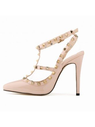 Blush Patent-Leather Closed Toe Slingback Pumps With Rivet Style