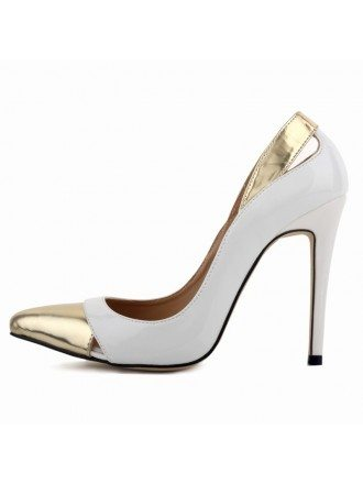 White Patent-Leather Stiletto Closed Toe Pumps