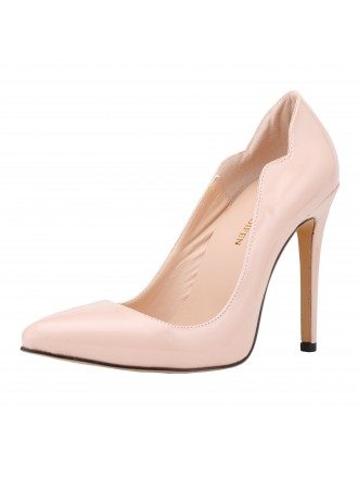 Apricot Patent-Leather Stiletto Closed Toe Pumps