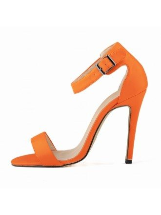 Orange Patent-Leather Stiletto Peep Toe Pumps Sandals