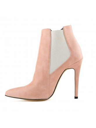 Pink Suede Stiletto Closed Toe Pumps Boots