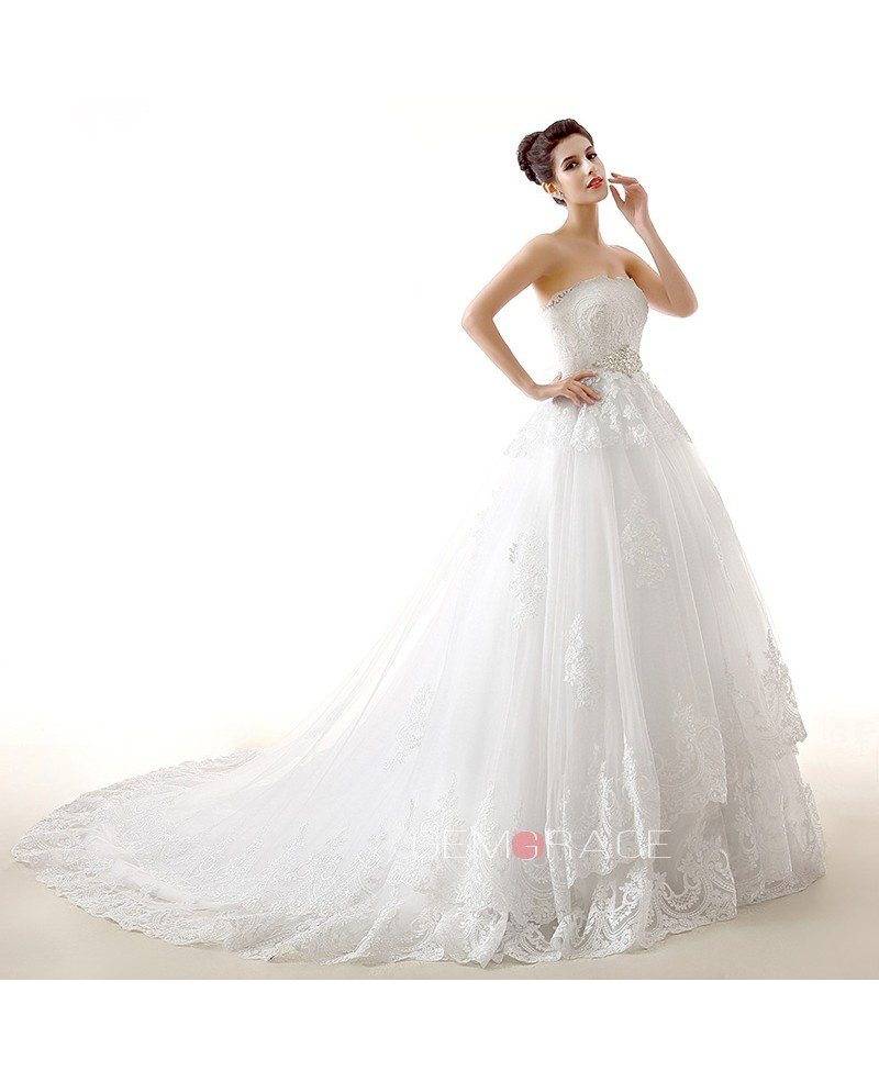 Ball gown sweetheart chapel train tulle wedding dress with for Beading for wedding dress