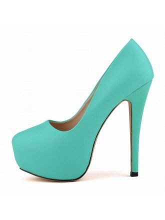 Mint Green Patent-Leather Stiletto Closed Toe Platform Pumps