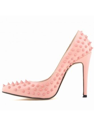 Pink Patent-Leather Stiletto Closed Toe Pumps With Rivet Style