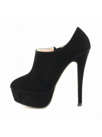 Black Suede Stiletto Closed Toe Platform Pumps Boots
