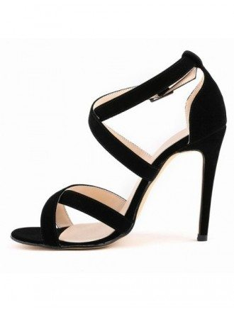 Black Suede Peep Toe Platform Pumps Sandals