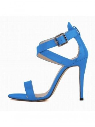 Blue Patent-Leather Peep Toe Platform Pumps Sandals