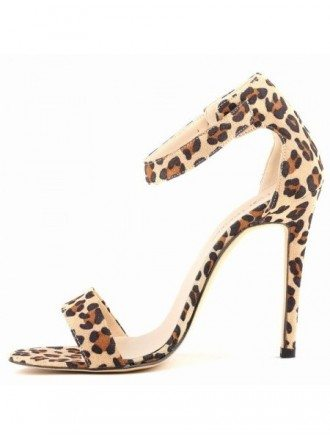 Leopard Print Suede Stiletto Peep Toe Pumps Sandals