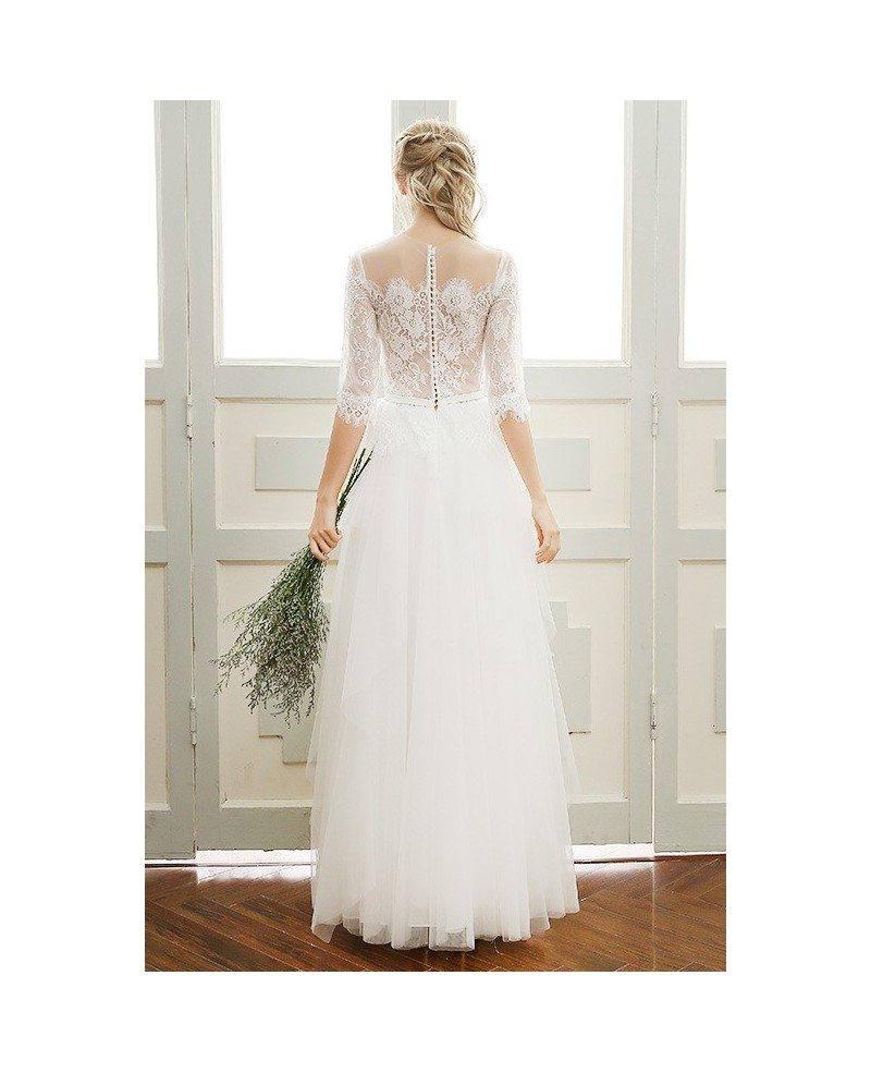 Simple Design Scoop Neck Long Sleeve Long A Line Tulle: A-line Scoop Neck Floor-length Tulle Boho Wedding Dress