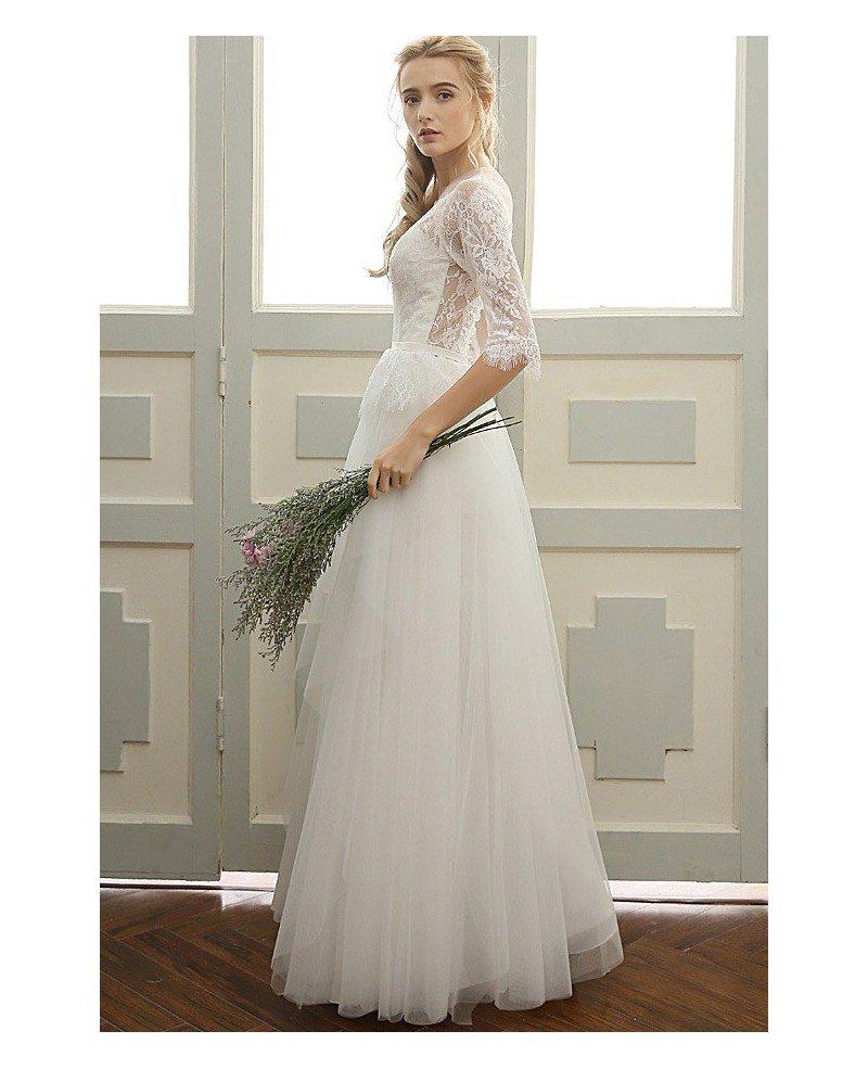 Simple Elegant Tulle A Line Scoop Neck Cap Sleeves Lace: A-line Scoop Neck Floor-length Tulle Boho Wedding Dress