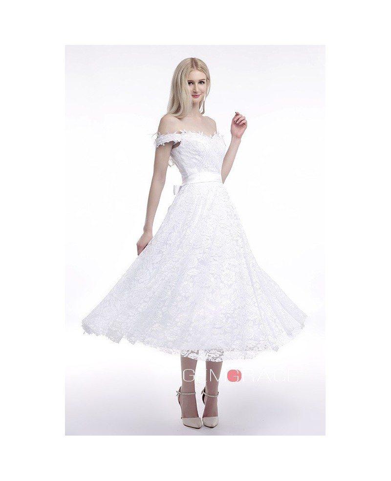 Off the shoulder tea length wedding dresses lace a line for Lace mid length wedding dresses