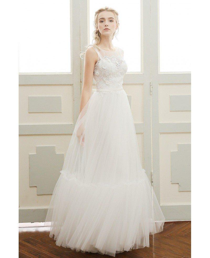 Open Back Wedding Dress Beach: A-line Scoop Neck Floor-length Tulle Beach Wedding Dress