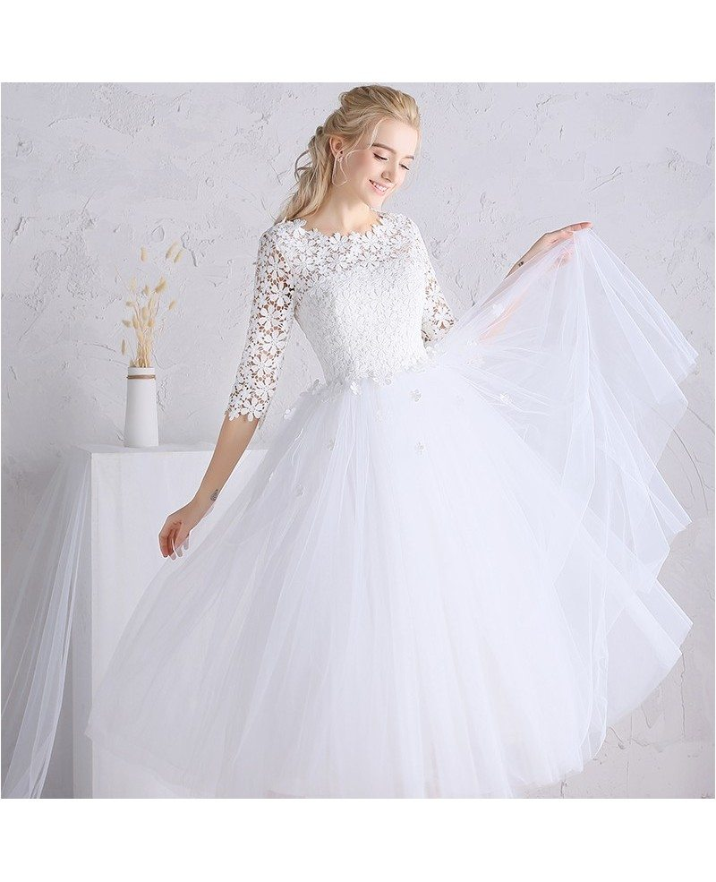 A line tea length wedding dresses tulle with sleeves scoop for Tulle wedding dress with sleeves