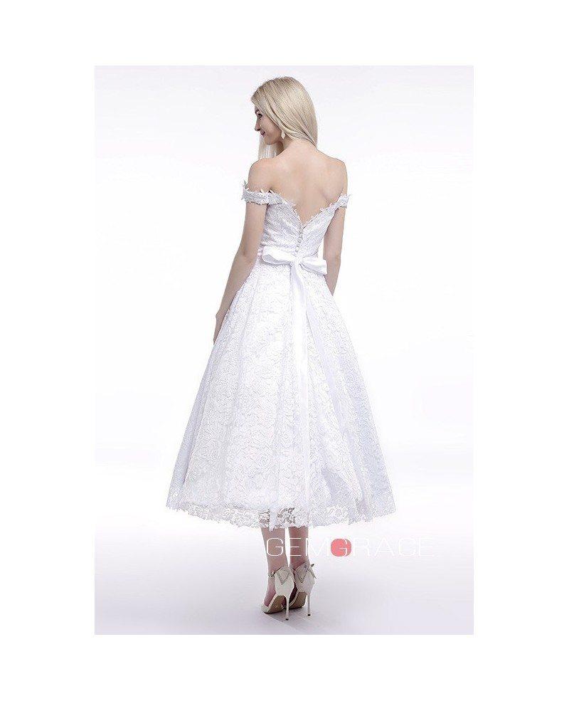 Off the shoulder tea length wedding dresses lace a line for A line tea length wedding dress