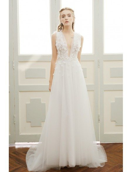 Grace Love A Line Deep V Neck Sweep Train Tulle Boho Wedding Dress With Open Back