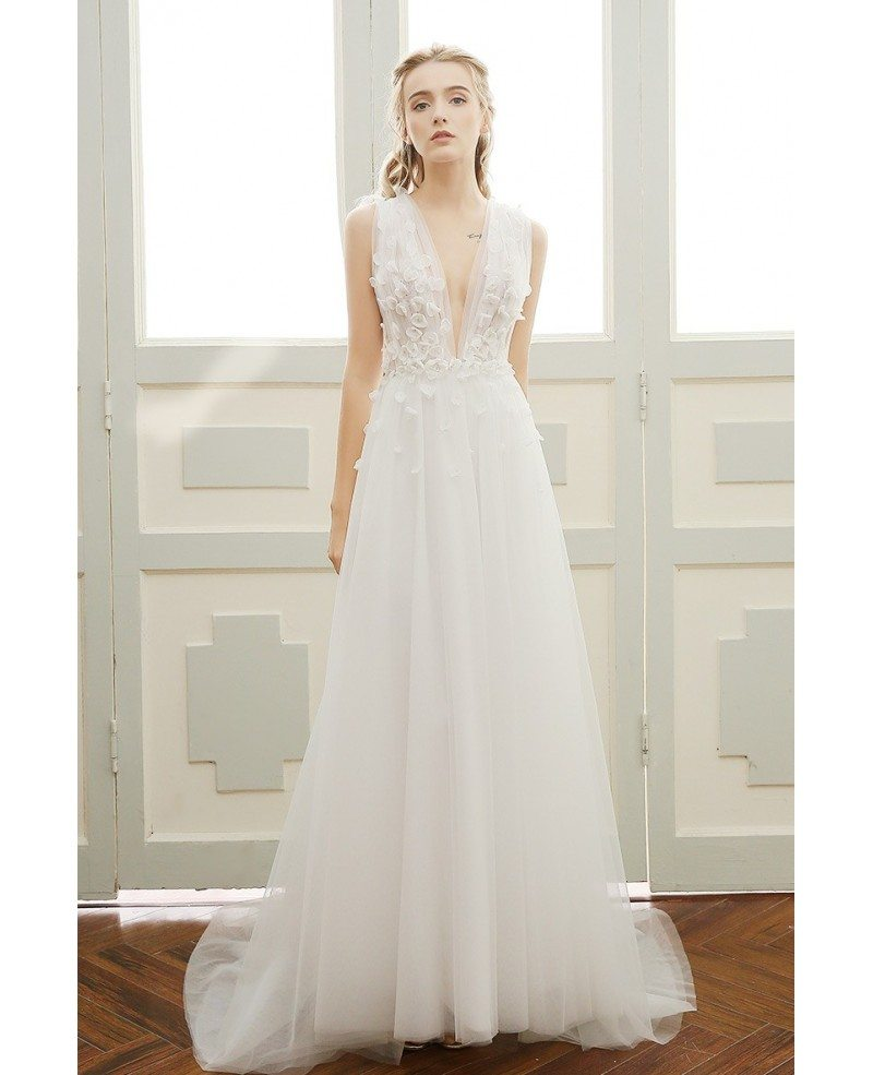 A-line Simple Boho Wedding Dress Deep V-neck Sweep Train Tulle with Open Back #DF06 $159 - GemGrace.com
