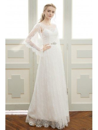 Romantic A-line Scoop Neck Floor-length Bohemian Lace Wedding Dress With Sleeves