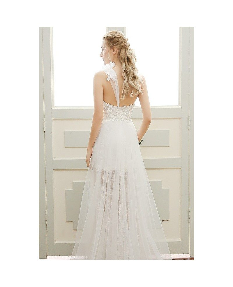 Goddess a line one shoulder floor length tulle beach for Mid length wedding dress