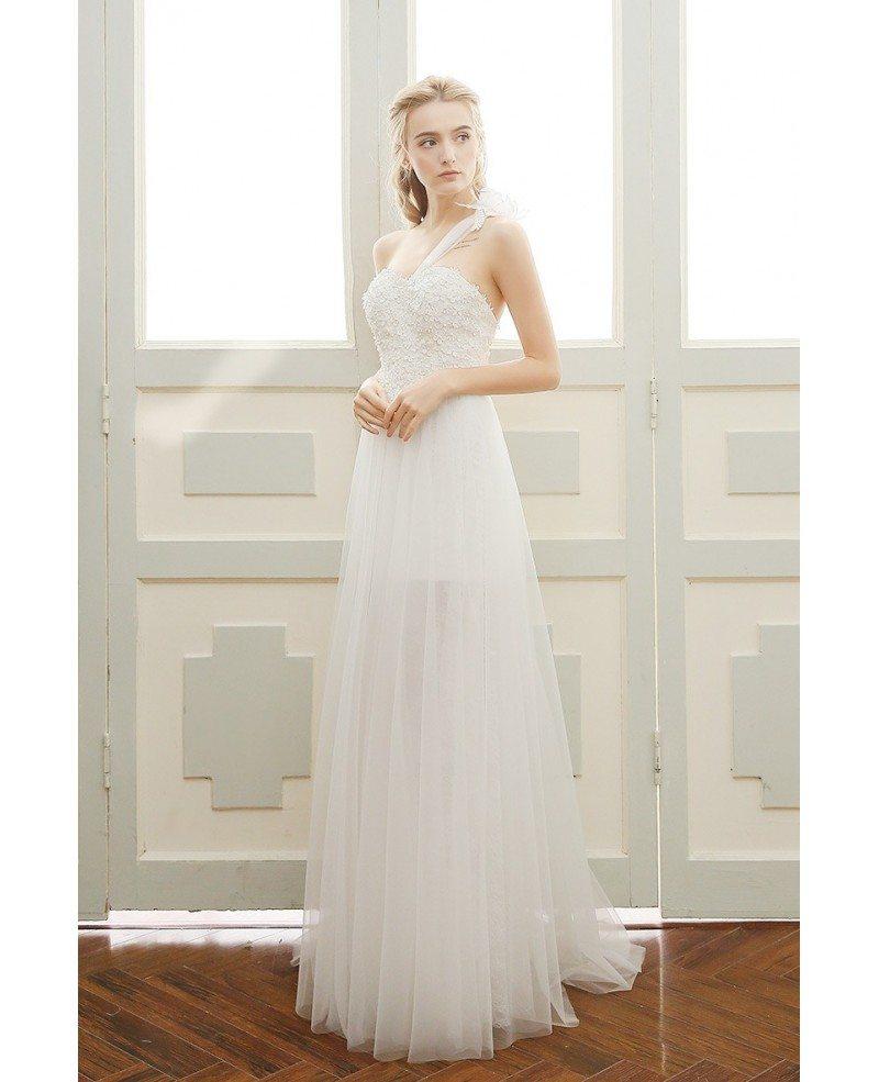 Goddess A-line One-shoulder Floor-length Tulle Beach Wedding Dress ...