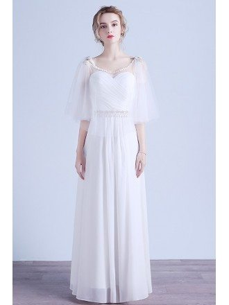 Elegant A-line Scoop Neck Floor-length Chiffon Wedding Dress With Beading