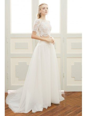 A-line Sweetheart Floor-length Tulle Two Pieces Boho Wedding Dress With Lace