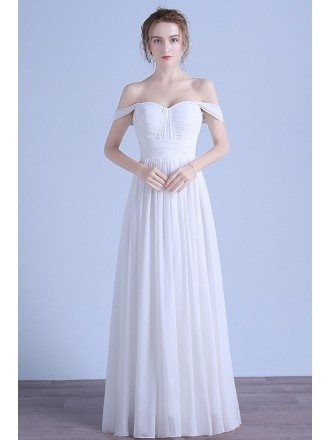 Simple A-line Off-the-shoulder Floor-length Chiffon Beach Wedding Dress