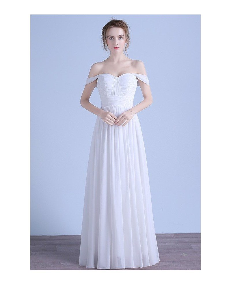 Simple a line off the shoulder floor length chiffon beach for Mid length wedding dress