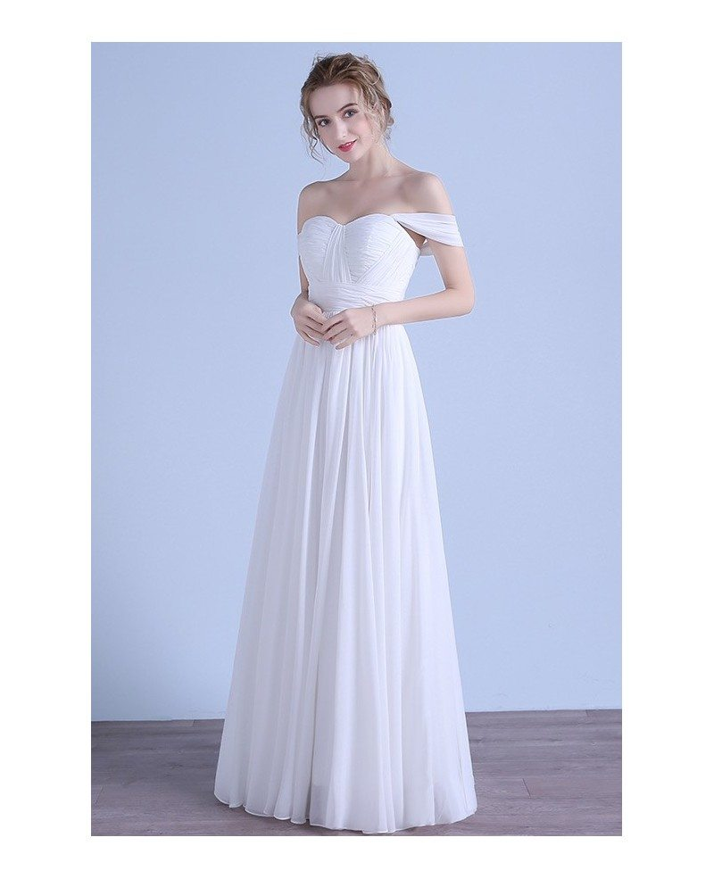 Simple a line off the shoulder floor length chiffon beach for Beach chiffon wedding dress