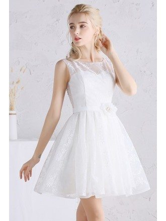 Pretty A-line Scoop Neck Short Lace Wedding Dress