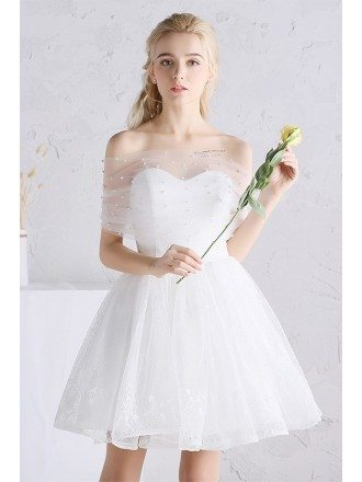 Cute A-line Off-the-shoulder Short Beaded Lace Wedding Dress