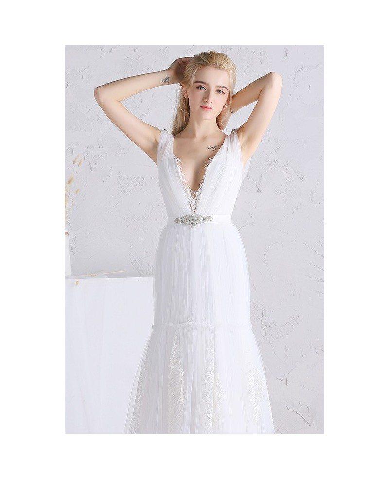 Sexy a line deep v neck floor length tulle wedding dress for V neck a line wedding dresses