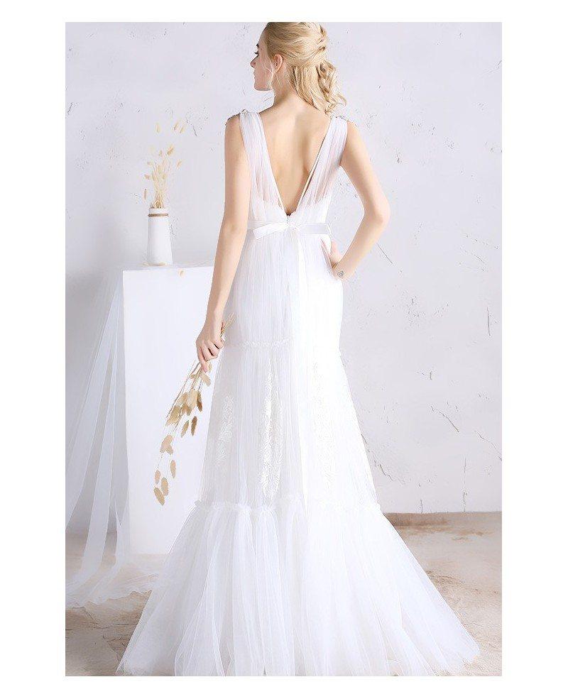 Sexy a line deep v neck floor length tulle wedding dress for Deep v back wedding dress