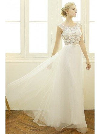 Trendy A-line Scoop Neck Sweep Train Tulle Boho Wedding Dress With Appliques Lace