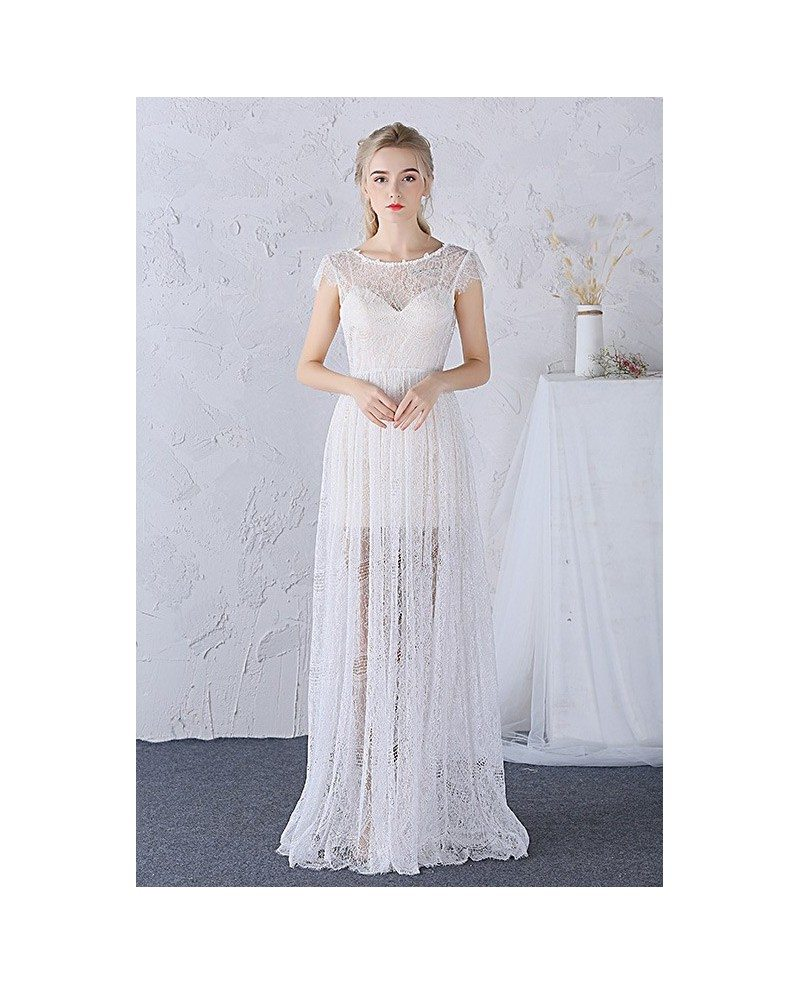 A-line Boho Lace Wedding Dress Scoop Neck Floor-length With Cap ...