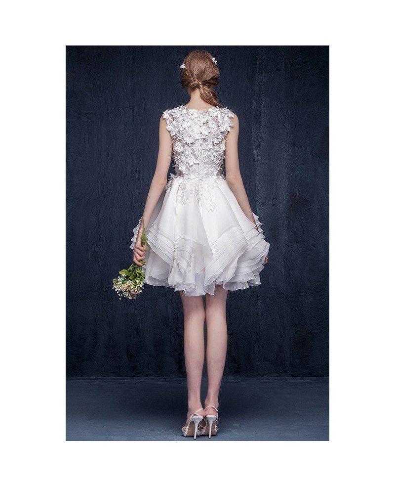 2017 modern short wedding dresses lace ruffles a line for A line ruffle wedding dress