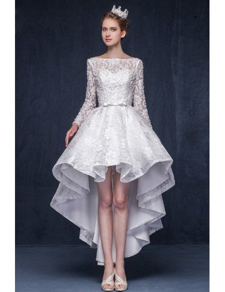high low wedding dress with sleeves luxury lace high low wedding dresses with sleeves 2017 a 4792