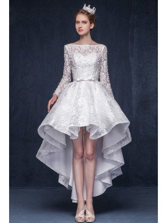 Gorgeous A-line Scoop Neck High Low Lace Wedding Dress With Long Sleeves