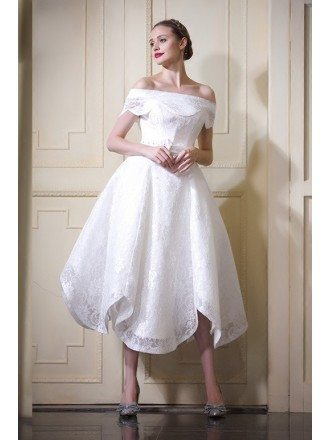 Fancy A-line Off-the-shoulder Tea-length Lace Wedding Dress