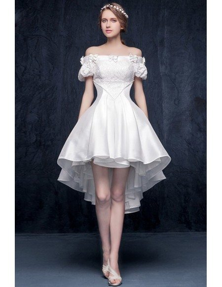 GRACE LOVE Gorgeous A Line Off The Shoulder High Low Satin Wedding Dress With Bow