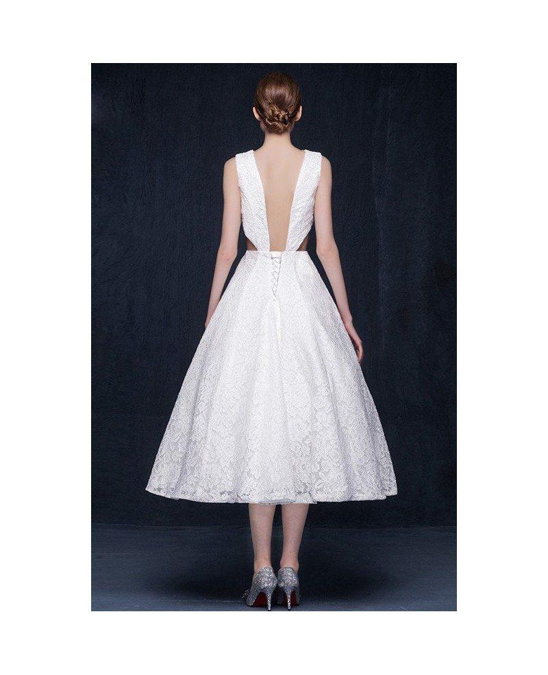 Vintage lace tea length wedding dresses backless a line for A line tea length wedding dress