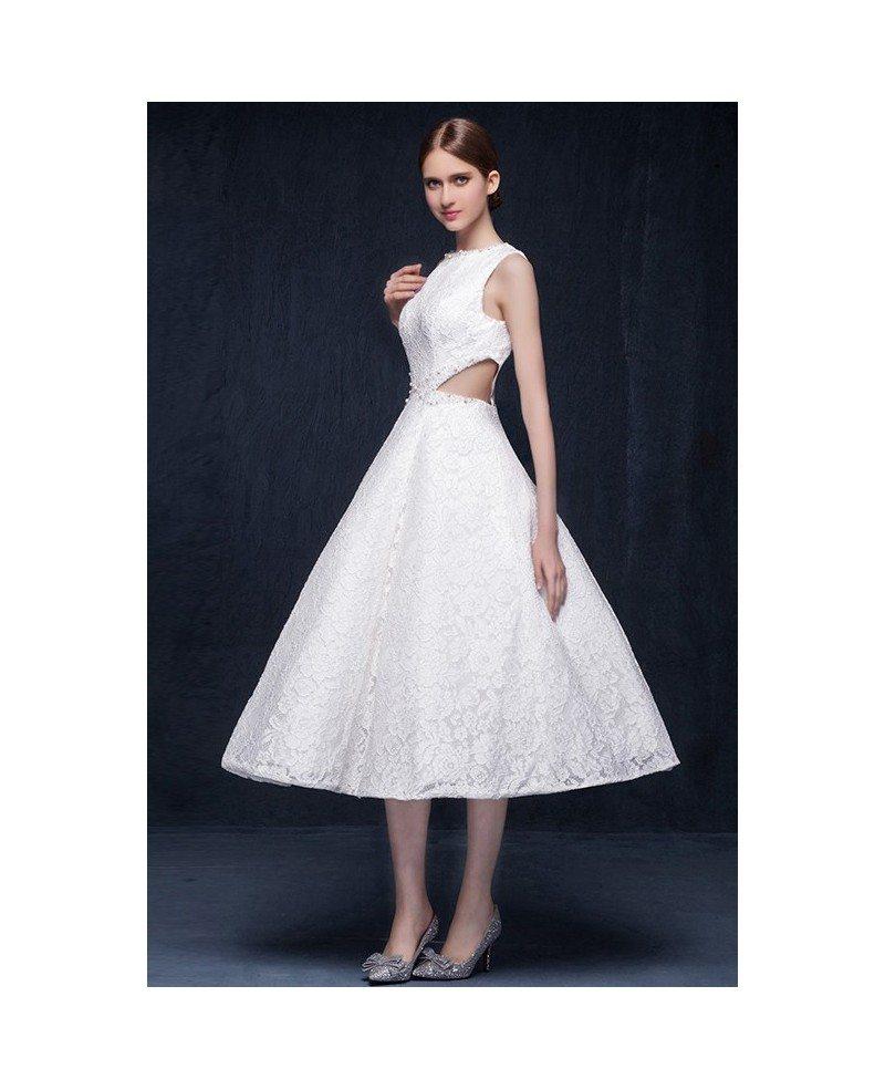 A Line High Neck Tea Length Unique Lace Cutout Wedding Dress