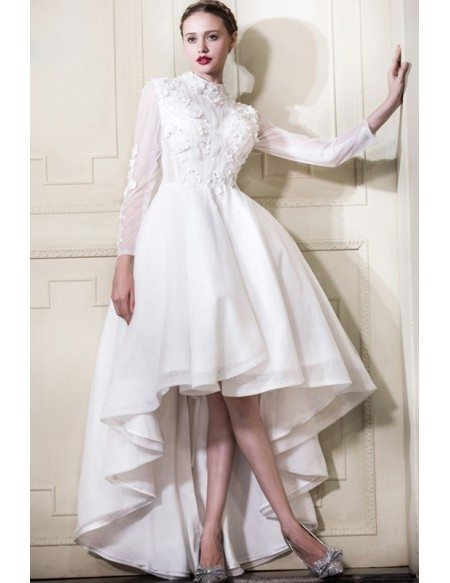 Classy Lace High Low Wedding Dresses With Sleeves A-line High Neck ...